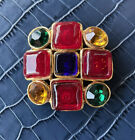 Vintage Chanel Gripoix Ruby Sapphire Poured Glass Byzantine style brooch
