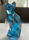 FENTON Blue Iridescent Hand Painted Cat Glass Figurine Signed With Sticker