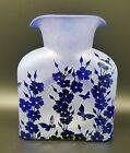 Blenko Glass Water Bottle With Carved Flowers And Butterflies