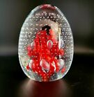 Vintage Signed Gibson Art Glass Red Flowers Controlled Bubbles Paperweight Mint