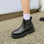 Punk Womens Round Toe Biker Ankle Boots Comfort Pull On Outdoor Riding Boots Sz