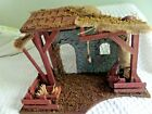 Vtg Christmas Nativity Wood Stable Stable 21 x 15