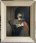 Original Vintage Paint by Number Painting of Knight in Armor in Vintage Frame