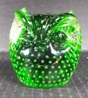 Vintage Emerald Green Glass Owl Paperweight Controlled Bubbles Bullicante