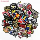50 Pcs Mixed Cloth Patches Iron on Badges Hippie Embroidered Stickers
