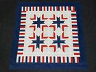 Patriotic Lap or Baby Quilt Top Red White and Blue
