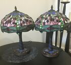 Tiffany Style Green Dragonfly Stained Glass Table Lamps Pair of Two