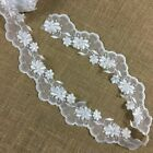 Scalloped Bridal Trim Lace Embroidered Beaded Sequined Organza 25 SKU B1329B3