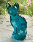 FENTON HANDCRAFTED GLASS 525 CAT TURQUOISE BLUE