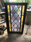 Vintage Leaded Stained Glass Wooden Frame Panel Beveled Blue 21 x 38