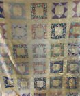 Antique Quilt Yellow Pastel Block Pattern hand pieced  quilted 72 x 87