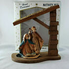 Vintage Nativity Set Plastic In Wooden Stable Made In Hong Kong Hand Decorated