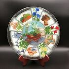 Peggy Karr Fused Art Glass Plate 11 1 4 Round Plate Signed GARDENING Theme