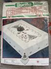 BUCILLA Stamped Cross Stitch KIT Holiday Tree CHRISTMAS Oval Tablecloth 60x90