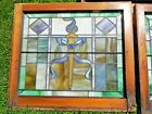 Victorian TORCH Antique Leaded Slag Stained Glass Fixed Windows pair 28 x 245