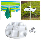 Beach Umbrella Table Tray with Cup Holder for Patio Swimming Pool White