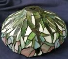 BEAUTIFUL VINTAGE STAINED GLASS FLORAL MOTIV 5 1 4 TALL ROUND LAMP SHADE
