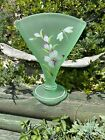 Fenton Art Glass Hand Painted  Signed 8 Willow Green Satin Dragonfly Fan Vase