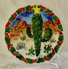 SIGNED 2001 PEGGY KARR GLASS CACTUS COYOTE 8 CHRISTMAS PLATE NEW IN BOX