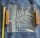 Hawaiian etched glass serving plate wood handles 8 inch Vintage Frank Oda