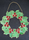 Vintage NOS Stained Glass Sun Catcher Window Christmas Holly Berry Wreath