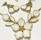 SIGNED CROWN TRIFARI WHITE POURED MILK GLASS FLOWER NECKLACE EARRING Set L1