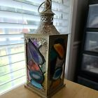 Stained Glass Lantern Handmade w Colored Glass  Colored Sliced Agates 12
