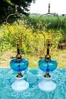 Pair of Fenton for LG Wright Blue Optic with Milk Glass Base Lamps