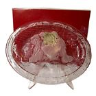 Mikasa Christmas Nativity Glass Oval Plaque 9 1 4 Plate Platter with Stand New