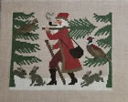 finished completed cross stitch PRAIRIE SCHOOLER woodland santa