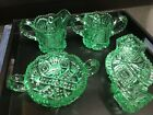 EAPG Imperial or Nucut Apple Green Colored Glass Nappy sugar creamer Set