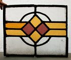 Vintage Leaded Stained Glass Window Panel Colour Pink Yellow Art Deco Style