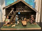 Vintage Fontanini Nativity Scene Set of 7 Figures w Wood Manger Made in Italy