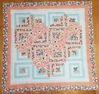 Precut Log Cabin Quilt Kit Frontier Heart Coral Apricot Peach and Teal