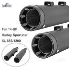 Pair 4 CHROME SLIP ON MUFFLERS EXHAUST PIPES FOR 2017 2021 HARLEY TOURING