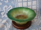 LCT TIFFANY FAVRILE Green ONION SKIN to Opalescent c1920 GLASS BOWL 15051