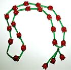 Gorgeous Handcrafted Vintage Glass Red Roses  Green Beads 29 Lariat Necklace