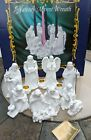 ROMAN White Bisque NATIVITY ADVENT WREATH FIGURINES 1997 booklet no candles