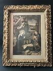 Nativity Print in Victorian Gold Frame Madonna Angels Baby Jesus Stable Creche