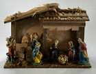 Sears Nativity Set Made in Italy Hand Painted Figures and Stable 7197581 w Box