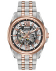 Bulova Classic Automatic Silver Dial Two tone Rose Gold Skeleton Watch 98A166