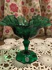 Fenton Emerald Green Candy Dish Pedestal Feather Compote Ruffle