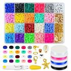 Zoyomax 4000 Pcs Clay Beads 6mm 20 Colors Flat Round Polymer Clay Spacer Beads