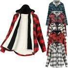 Womens Sherpa Fur Lined Flannel Plaid Shirt Attached Layered Hoodie