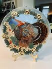 ART Fused Art Glass Thanksgiving Plate Turkey W Fall Leaves  Flowers 11 Signed