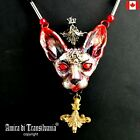 luxury jewelry simulated pearl gold silver precious stones necklace sphynx cat 4