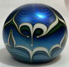 Orient  Flume Paperweight 1982 Pulled Feather Design Blue with Original Label