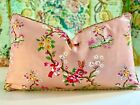 SCALAMANDRE FLORAL RIBBON PINK WITH SCALAMANDRE SILK CORD TRIM PILLOW