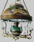 Hanging Oil Library Lamp Miller Pittsburgh Glass Clarks Midnight Landscape
