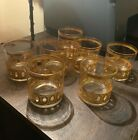 MCM SET OF 7 CULVER LTD 22KT GOLD OLD FASHIONED LOW BALL COCKTAIL GLASSES